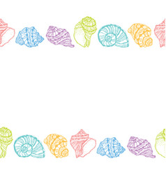 Seamless decorative border from colorful seashell vector