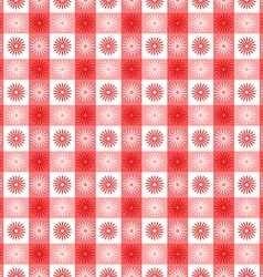 Seamless red gingham with floral pattern vector