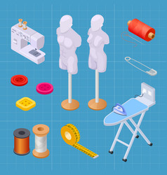 sewing factory isometric set sewing equipments vector image