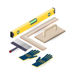 spatula level glove isometric construction vector image