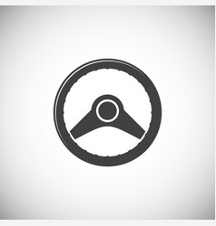 Steering wheel icon on background for graphic and vector