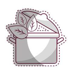 sticker organ food with pot kitchen and leaves vector image