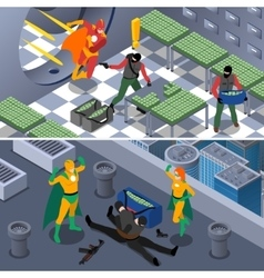 Superhero Isometric Banners Set vector