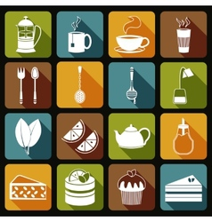 Tea icons set flat vector