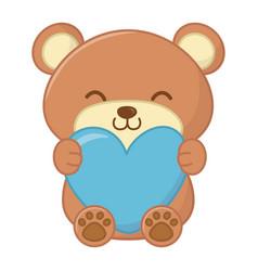 Toy bear hugging a heart vector