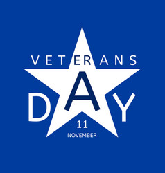 Veterans day emblem in the form of a blue star vector