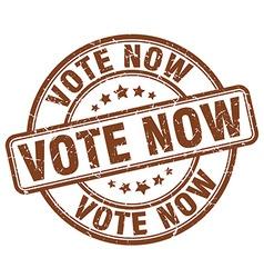Vote now brown grunge round vintage rubber stamp vector