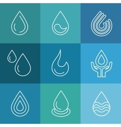 Water linear symbols vector