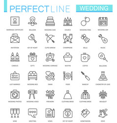 wedding thin line web icons set outline icon vector image