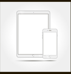White business tablet and smartphone similar to vector
