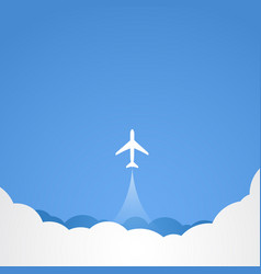 White silhouette of jet airplane vector