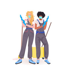 Women janitors professional office cleaners vector