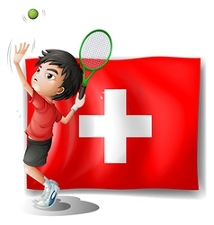 A tennis player in front of the Switzerland flag vector image vector image