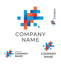 abstract construction logo with lines and squares vector image vector image