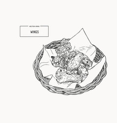 hand drawn sketch buffalo chicken wings in basket vector image