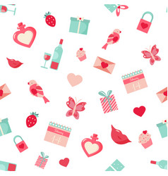 holiday pattern with elements for valentines day vector image vector image