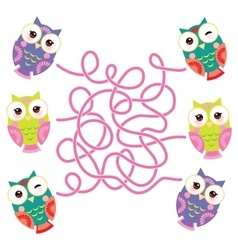 set bright colorful owls on white background vector image vector image