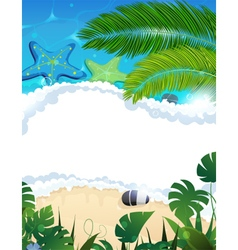 Beach with starfishes and palm branches vector image