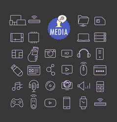 different media icons collection web and mobile vector image vector image
