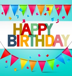 Happy Birthday Retro Colorful Card Bunting with vector image vector image