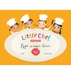 Kids Cooking class certificate design template vector image vector image