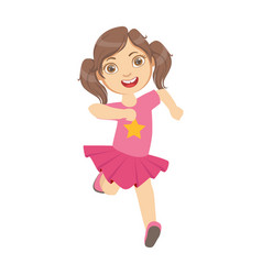 little girl running in a pink dress kid in a vector image vector image