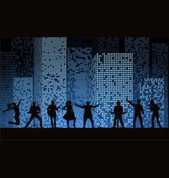 band show on night city background at blue style vector image vector image