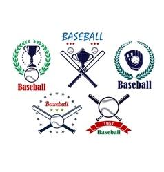 Baseball sporting emblems and symbols vector image vector image