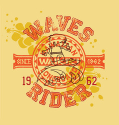 hawaiian longboard wave rider surfing kids vector image vector image
