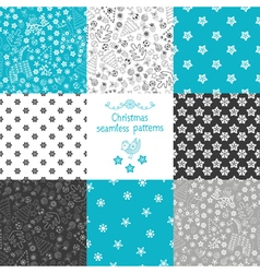 set of eight Christmas seamless patterns vector image