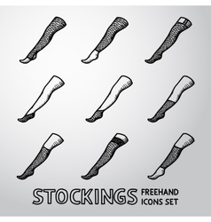 Set of handdrawn STOCKINGS icons with different vector image vector image