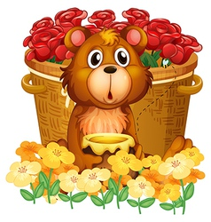 A bear in front of the basket with red roses vector image vector image