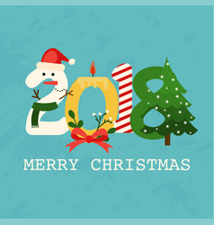 christmas 2018 greeting card flat design modern vector image vector image