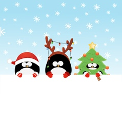 Costumed Penguins With Paper vector image vector image