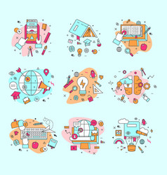 education icons and learning vector image