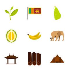 symbols of sri lanka icons set flat style vector image