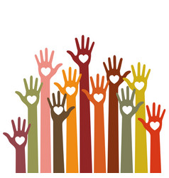 volunteers colorful caring up hands with hearts vector image vector image