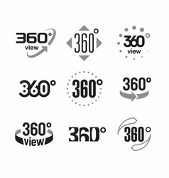 360 degrees view sign icons set vector