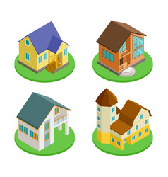 3d isometric living houses of set vector image