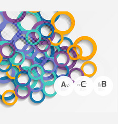 3d rings on grey geometrical modern abstract vector image