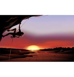 A sunset scenery at desert vector