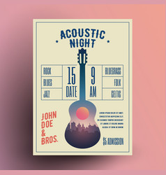 acoustic guitar live music night vector image