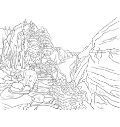 adult coloring bookpage a nature landscape with a vector image