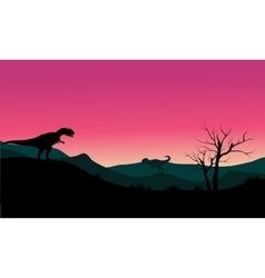 Allosaurus at morning scenery silhouette vector
