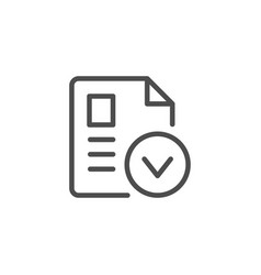 Approved document line icon vector