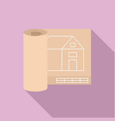 architect house project icon flat style vector image