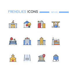 Architecture - modern line design style icons set vector