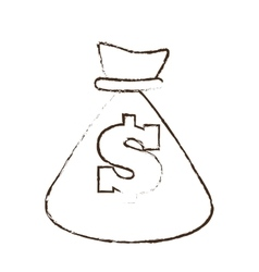 bag money dollar cash sketch vector image
