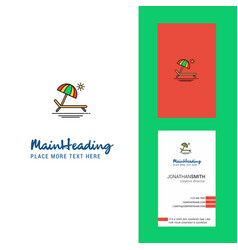 beach creative logo and business card vertical vector image