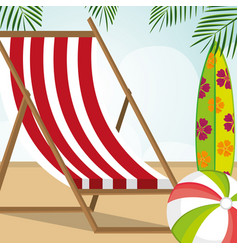 beach landscape with chair scene vector image